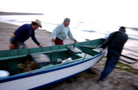 PESCARI-PREGATIRE LANSARE BARCA. Viata pescarilor se desfasoara intr-un spatiu foarte restrans-barca si plaja. Cu banii obtinuti pe pestele pescuit din mare ei isi cumpara bautura si lemne pentru iarna. Ziua de lucru incepe in jurul orei 3 dimineata si se incheie la maxim 11 dimineata Foarte multi pescari sunt moldoveni de peste Prut. DRAGOS ROBATZCHI/JURNALUL NATIONAL